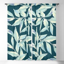 Abstract Mint Forest Green Watercolor Foliage Blackout Curtain