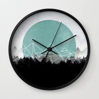 woods Wall Clocks featuring Woods Abstract 2 by Mareike Böhmer