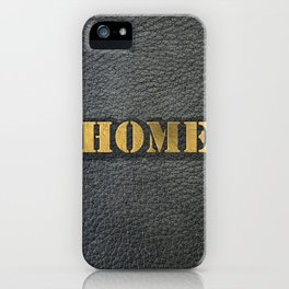 HOME black leather gold letters iPhone Case
