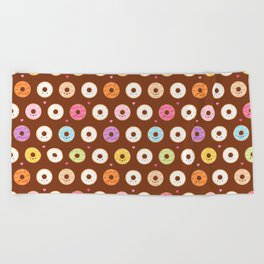 Kawaii Donuts Pattern on Brown Beach Towel
