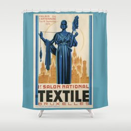 1938 Art deco Textile Expo Brussels Shower Curtain