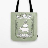 vegetarian Tote Bags featuring Vegetarian by Dani Purper