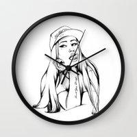 iggy azalea Wall Clocks featuring Iggy by Liz Cowling