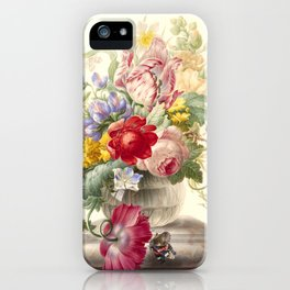 """Herman Henstenburgh """"Flowers in a Glass Vase with a Butterfly"""" iPhone Case"""