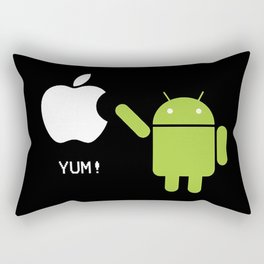 Android eats apple Rectangular Pillow