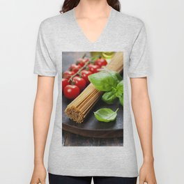 Spaghetti and tomatoes with herbs on an old and vintage wooden table Unisex V-Neck