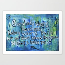 Everybody Wants Happiness - Blue Art Print