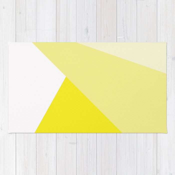 Simple Geometric Triangle Pattern - White on Yellow - Mix & Match with Simplicity of life Rug