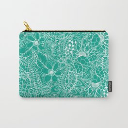 Modern trendy white floral lace hand drawn pattern on emerald green Carry-All Pouch