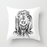 goat Throw Pillows featuring Goat by Sarah Mosser