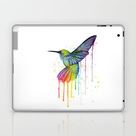 Hummingbird Rainbow Watercolor Laptop & iPad Skin