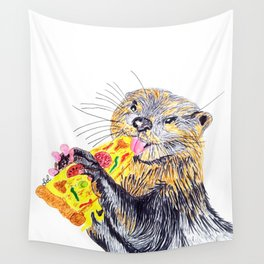 Otter loves pizza Wall Tapestry