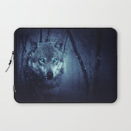 Wolf in forest | Blues eyes  Wolf | Wolf design | Wolf love Laptop Sleeve