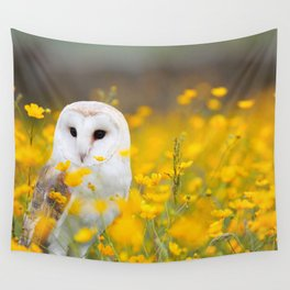 Little Owlet in Flowers (Color) Wall Tapestry