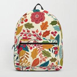 Ivory orange red autumn floral illustration Backpack