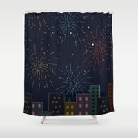 night sky Shower Curtains featuring Night Sky by Suchita Isaac