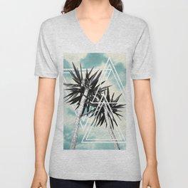 Cali Summer Vibes Palm Trees Geometric Triangles #1 #tropical #decor #art #society6 Unisex V-Neck