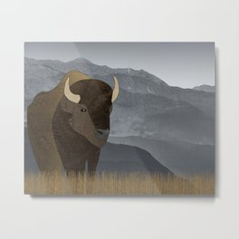 Bison Gray Mountains Metal Print