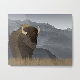 Bison Gray Mountains Metal Print