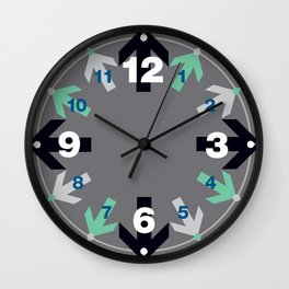 Arrow Pattern Blue Green Gray Wall Clock