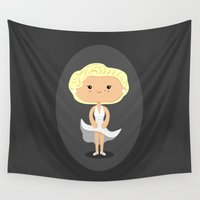 marilyn Wall Tapestries featuring Marilyn by Sombras Blancas Art & Design