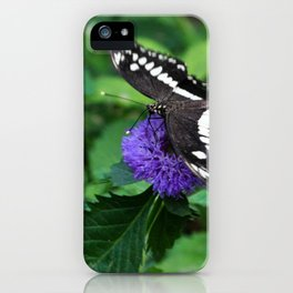 Butterfly on a Blue/Purple Flower iPhone Case