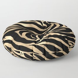 Elegant Metallic Gold Zebra Black Animal Print Floor Pillow