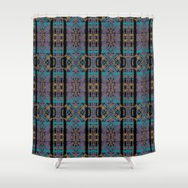 Geometric Stained Glass - 80s Marigold, Turquoise & Magenta Pattern on Black by artestreestudio Shower Curtain