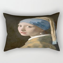 Girl with a Pearl Earring (1665), Old Masters Collection Rectangular Pillow