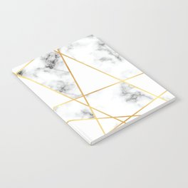 Stone Effects White and Gray Marble with Gold Accents Notebook