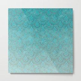 Polka Dots Mermaid Scales Metal Print