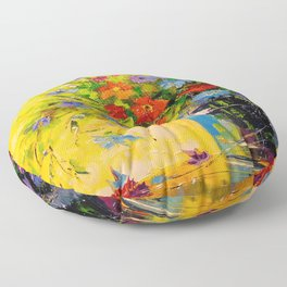 Bouquet of meadow flowers Floor Pillow