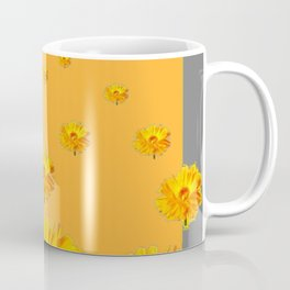FLOATING GOLDEN FLOWERS  GREY COLLAGE Coffee Mug