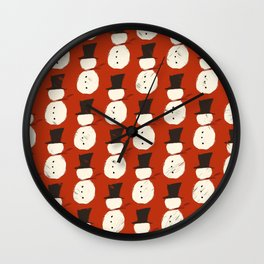 Christmas Red Snowguys Wall Clock