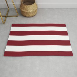 Deep Red Pear and White Wide Horizontal Cabana Tent Stripe Rug