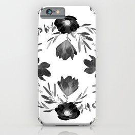 Floral Square Black & White iPhone Case