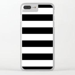 Stripe Black & White Horizontal Clear iPhone Case