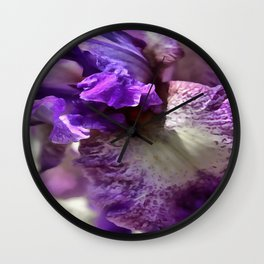 Purple, Violet and Mauve Iris Abstract Wall Clock