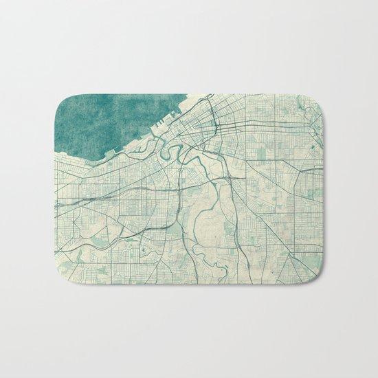 Cleveland Map Blue Vintage Bath Mat