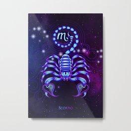 Zodiac neon signs — Scorpio Metal Print