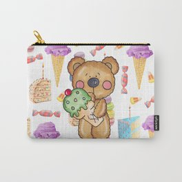 Birthday Boy Bear Cake and Ice Cream Yummy Carry-All Pouch