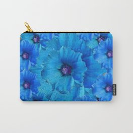 GORGEOUS BLUE FLOWERS  PATTERN ABSTRACT GREY ART Carry-All Pouch
