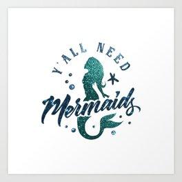 Mermaids - aqua and green glitter design Art Print