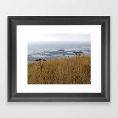Navaro Bluffs, fall flowers over the ocean Framed Art Print