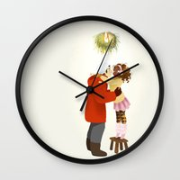 xmas Wall Clocks featuring Xmas  by Martina Zambelli