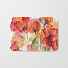 Tangerine Orange Poppy field WaterColor by CheyAnne Sexton Bath Mat