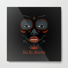 Mexican girl in tattoo style with traditional make-up Metal Print