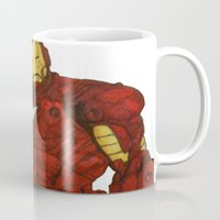 iron man Mugs featuring Iron Man by DeMoose_Art