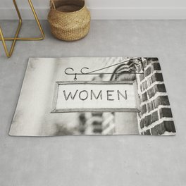 Ladies Room, Women's Restroom Sign Art, Black and White Bathroom Photo Rug