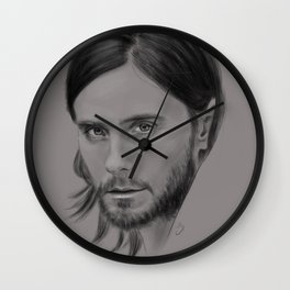 Jared Leto Digital Portrait grey LLFD Wall Clock